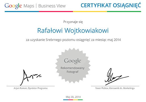 Google Street View - Rekomendowany Fotograf Google - Rafał Wojtkowiak - Certyfikat
